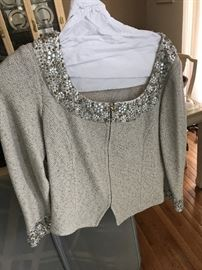ST. JOHN KNIT BY MARIE GRAY-SEQUIN GREY JACKET AND SKIRT