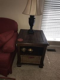 WOODEN SIDE TABLE WITH WICKER DRAWER AND LAMP