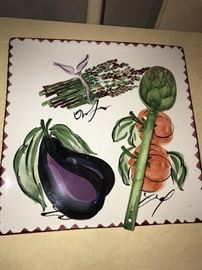 HAND-PAINTED PLATTER AND ARTICHOKE SPOON