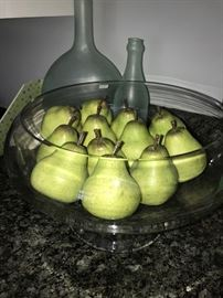 CLEAR BOWL WITH PEARS AND PIER 1 IMPORTS HOME DECOR'