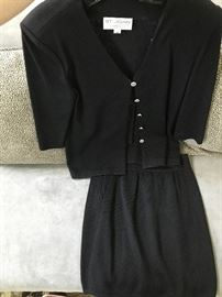 ST. JOHN KNIT BY MARIE GRAY-BLACK JACKET AND SKIRT