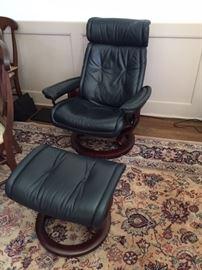 Dania Furniture EKORNES STRESSLESS Dark blue leather chair and ottoman