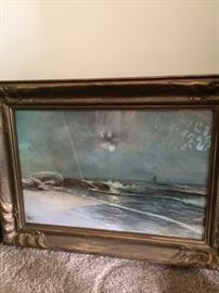 Seascape watercolor by Moore with appraisal