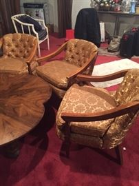 Mid Century Modern Three tufted chairs in gold and 4 leaf wood table.