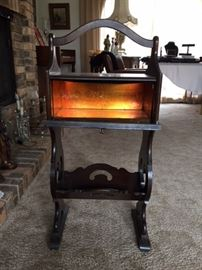 Antique wood copper lined smoking stand.