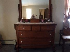 Solid Oak Female Dresser with Lion's Feet (original oak knobs included).