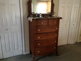 Solid Oak Male Dresser with Lion's feet (original wood knobs included).