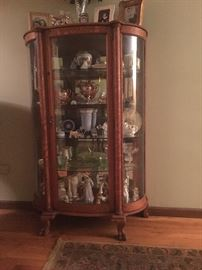 Curio (with Lion's feet, mirrored back, glass shelves)
