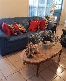 Leather sofa, marble top coffee table