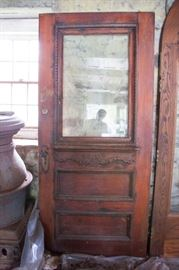 Antique door with brass hardware