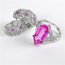 14K White Gold Diamond and Pink Sapphire Earrings and Ring: A 14K white gold 0.24 ctw diamond and pink sapphire ring and 0.10 ctw diamond and pink sapphire earrings. The ring is hallmarked 10K, but tests 14K.