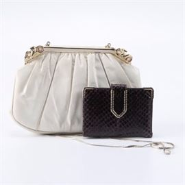 Judith Leiber Snakeskin Purse and Leather Wallet: A Judith Leiber snakeskin purse and leather wallet. This white snakeskin satchel has gold-tone hardware and chain and opens to a white interior. Also included is a deep violet snakeskin bifold wallet by Judith Leiber.