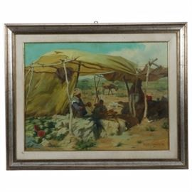 """Marialuise Arduino Original 1974 Oil on Canvas """"Souk di Chichaoua in Morocco"""": An original 1974 oil painting on canvas signed in red paint to the lower right by artist Marialuisa Arduino, titled Souk di Chichaoua in Morocco. Skillfully painted in carefully mixed, clean pigments, this plein air painting depicts a small outdoor marketplace suggested in the title, with nomadic farmers and merchants selling various goods under fabric canopies rigged from found materials. Watermelons ripen in the sun to the left, a husband and wife cook potatoes over a small fire near the center, while an anonymous, shrouded figure tends to their wares in the shadows to the right. A donkey grazes in the sun in the near distance. This stunning painting is mounted behind a linen liner and protected behind glass in a beveled wood frame with a distressed gold leaf and silver leaf finish. The verso is marked by the artist with title, date and signature."""
