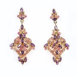 Vermeil Sterling Silver Ruby and Amethyst Dangle Earrings: A pair of vermeil sterling silver dangle earrings enhanced by marquise cut prong set amethyst and round cut rubies to the one of a kind design.