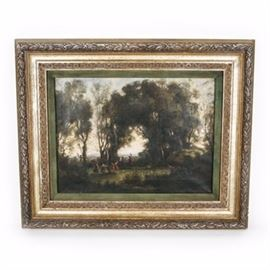 """19th Century Oil Painting After Corot: A 19th century oil painting after Corot. The painting is the image of women in different colored dresses dancing together in an overgrown wooded area at either dusk or dawn. The canvas is encased in a layered wooden frame with carved floral motif and gold brushed finish. The """"Corot"""" signature is painted to the bottom left."""