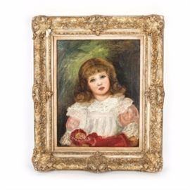 """Antique Oil Painting on Canvas After Renoir: An antique oil painting on canvas after Renoir. The painting is the depiction of a young girl in a white lace dress with curled golden brown hair as she holds a doll in a red dress in her arms. The painting is signed """"Renoir 76"""" to the bottom right. The painting is encased in a highly carved gold tone baroque style frame. The paining is of the period and was restored by Gregory Stepkoff in 1970. At that time he transferred the paining to a fiberglass canvas so it is not necessary to keep it in a room with controlled temperature."""