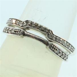 Sterling Silver Matching Diamond Band Set: A sterling silver diamond wedding band set.