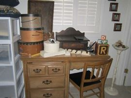 Vintage hat boxes - old blocks - candle stand - desk