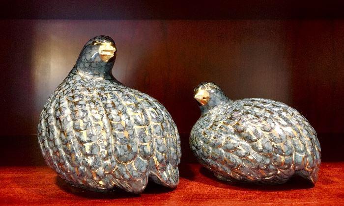 Navy and gold gilt quail