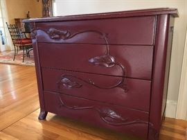 ' Lorts Legacy Vine' 4 - drawer painted chest w/ sculpted vine on front
