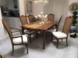 White Furniture Company wood dining room set. Additional two leafs (not pictured). All in like new condition, no damage. Custom, professional upholstered seats.