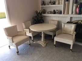 Vintage, White Painted Wood Dining Table with Professionally Upholstered Chairs. Table is from the 1950's with one owner.