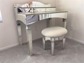 ZGallerie Glass Desk and Ottomon