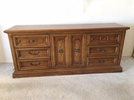 Burlington Furniture Company Original Piece. All wood, three center drawers and matching night stand (not pictured) available.
