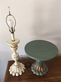 Vintage Wood Lamp and Wood Side Table dating to 1950's