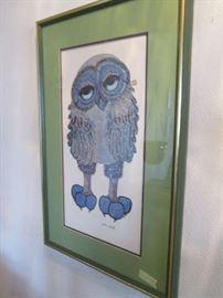 retro signed owl picture