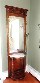 WOOD AND MARBLE HALL MIRROR STAND