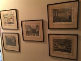 Antique English Gothic Colorized Architectural Drawings