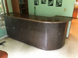 Vintage open bar, Leatherette front with laminate top, with open storage space behind. Will fit in pick-up.