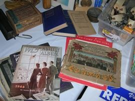 Old WLS Radio magazines, soldier training manuals, old padlocks.