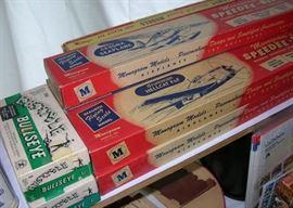 Monogram Speedee-bilt plane models. Bustible Bullseye clay targets.