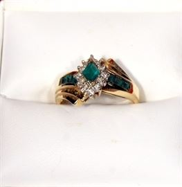14 KT Gold Ring with Emeralds and Diamonds, Size 7 1/4, With Box