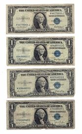 1935 and 1957 Series Blue Seal $1 One Dollar Silver Certificates, Qty 48 Total, Qty 9 1935 and Qty 39 1957 Silver Certificates