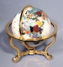 """Mother of Pearl Gemstone Globe With Paw and Ball Feet and Compass, 18""""H x 13""""D"""
