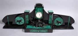 """Russian Agat Azam 3 Piece Malachite and Stone Clock Set with Dog Figures and Relief, 33""""W x 11""""T"""