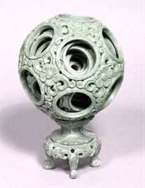 """Chinese Carved Jade Flower Puzzle Ball with Display Stand, 7.5""""T on Stand"""