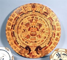 "Aztec Multi Wood Inlay Calendar Wall Plaque, Sun Stone, Mexican Folk Art, 24""Diameter, and Handmade Mexican Decorative Bird Plate Wall Decor, 8""-11"""