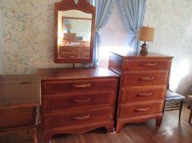 Cushman Quality Maple 3 Drawer Dresser w Mirror and 4 Drawer Chest