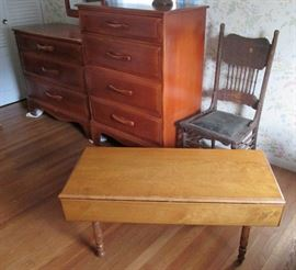 Drop Leaf Coffee Table, Antique Side Chair
