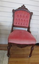 1 of 2 Victorian Velvet Side Chairs