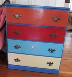 Colorful Vintage Chest of Drawers