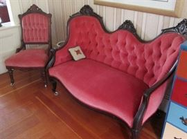 Victorian Sofa and 2 Side Chairs in Rose Pink Velvet