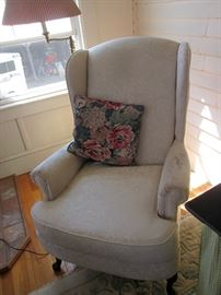 1 of 2 Upholstered Wing Chairs