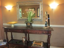 """ACQUISITIONS"" BY HENREDON! BEAUTIFUL GRANITE TOPPED SERVER WITH FLATWARE DRAWER. DISTRESSED WOOD"