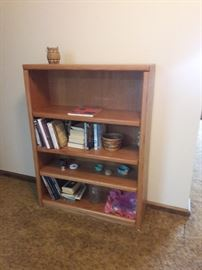 4-shelf wood book shelf $40  Measures 36x12x 48 high. Mix of wood and some particle board.