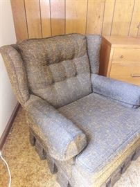 Mid-century brown & orange speckled arm chair, $60.  Measures 21x26 1/2 ..32 high. Retro vintage chair w/ fun orange speckles.  Could use some cleaning.  Easy to get out of.